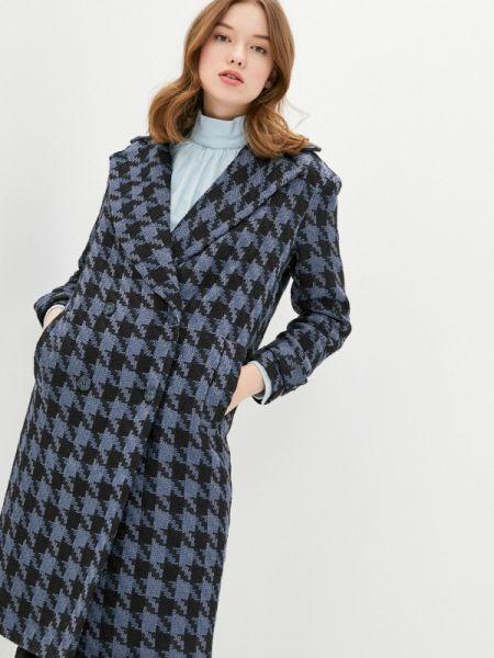 Синее пальто с капюшоном Solou