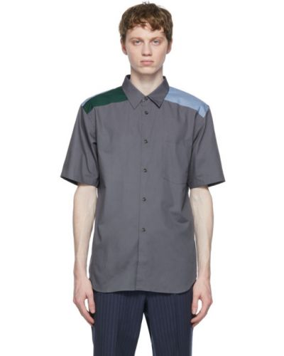 Niebieska koszula krótki rękaw bawełniana Comme Des Garcons Homme Deux
