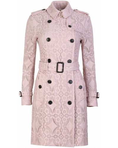 Пальто розовое с воротником Burberry
