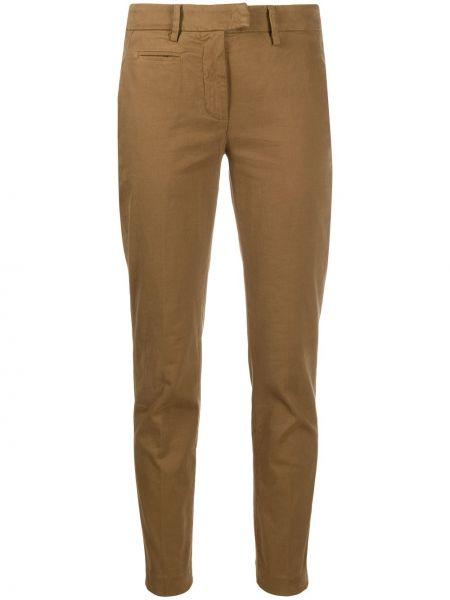 Хлопковые коричневые брюки с низкой посадкой Dondup