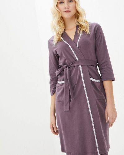 Фиолетовый хлопковый домашний халат Мамин Дом