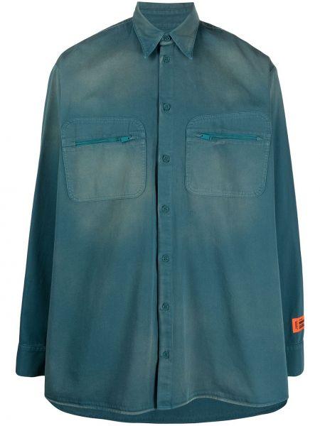 Bawełna bawełna z rękawami koszula jeansowa z łatami Heron Preston