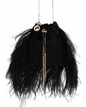 Czarna torebka na łańcuszku z aksamitu Rosantica