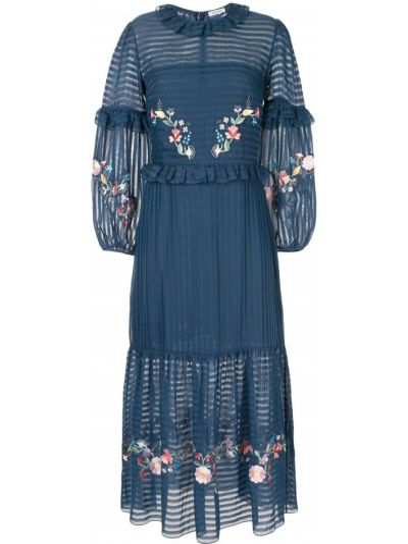 Шелковое платье миди - синее Vilshenko