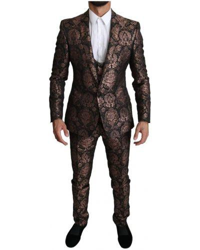 Złoty różowy garnitur zapinane na guziki Dolce And Gabbana