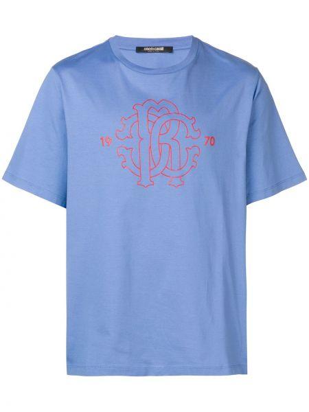 Koszula krótkie z krótkim rękawem z logo prosto Roberto Cavalli