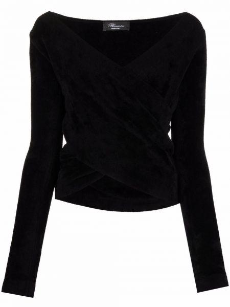 Блузка с V-образным вырезом - черная Blumarine