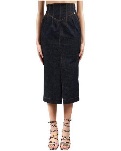 Złota spódnica midi elegancka granatowa Versace Jeans Couture