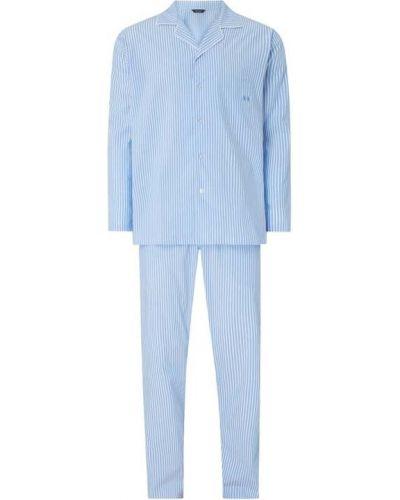 Piżama bawełna niebieski piżama z kieszeniami Hom