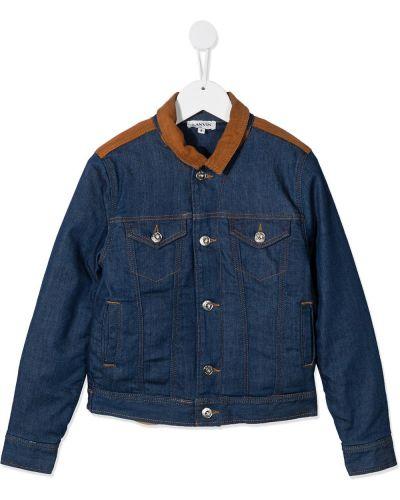 С рукавами синяя куртка с карманами вельветовая Lanvin Enfant