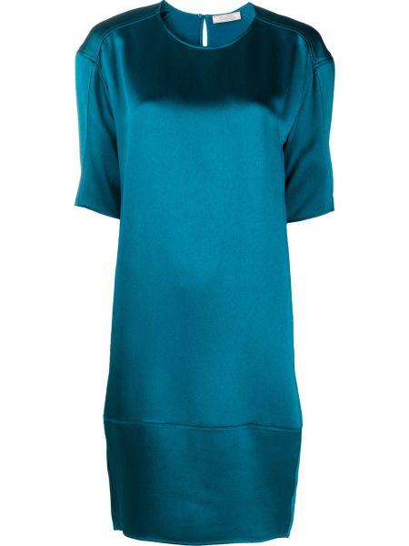 С рукавами синее платье мини с вырезом Nina Ricci