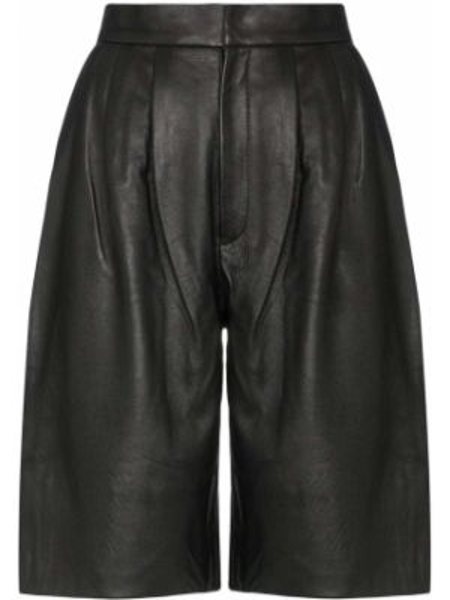 Плиссированные черные кожаные шорты Markoo