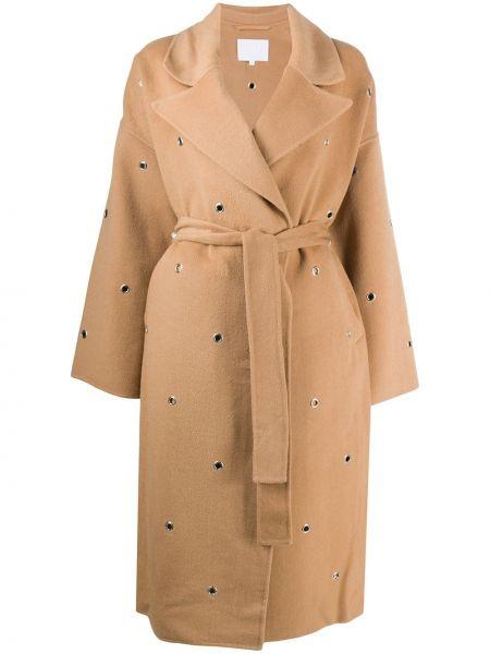 Прямое шерстяное длинное пальто с воротником Lala Berlin