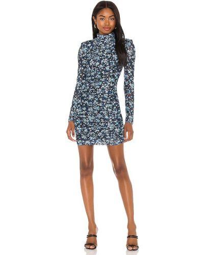 Деловое синее платье с оборками Misha Collection