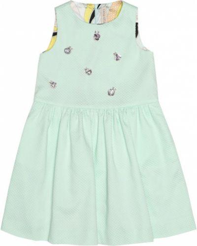 Деловое платье с мехом платье-солнце Emilio Pucci Kids