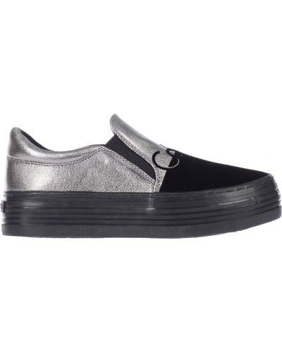 Слипоны на платформе черные Calvin Klein Jeans