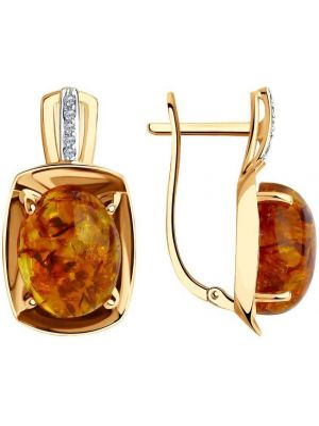 Золотистые желтые золотые серьги с декоративной отделкой Sokolov