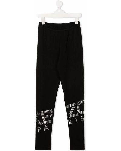 Czarne legginsy z wysokim stanem bawełniane Kenzo Kids