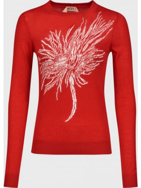 Красный шерстяной свитер с подкладкой N°21