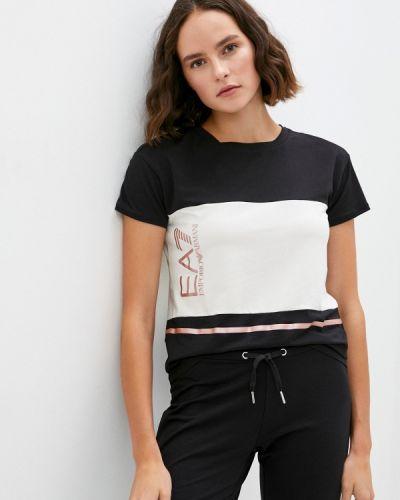 С рукавами черная футболка Ea7