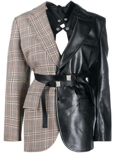 Однобортный черный кожаный удлиненный пиджак Junya Watanabe