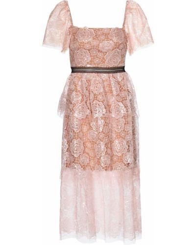 Розовое кружевное платье миди с вышивкой Self-portrait