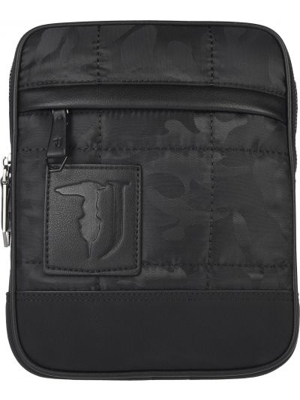 Кожаная сумка на молнии текстильная Trussardi Jeans