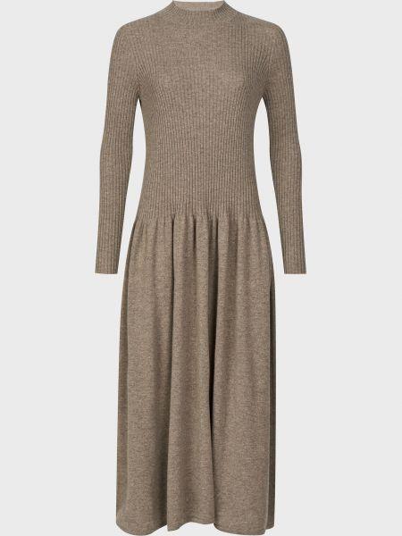 Кашемировое коричневое платье Agnona