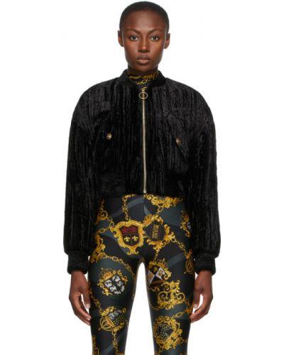Черные утепленные укороченные джинсы с манжетами Versace Jeans Couture