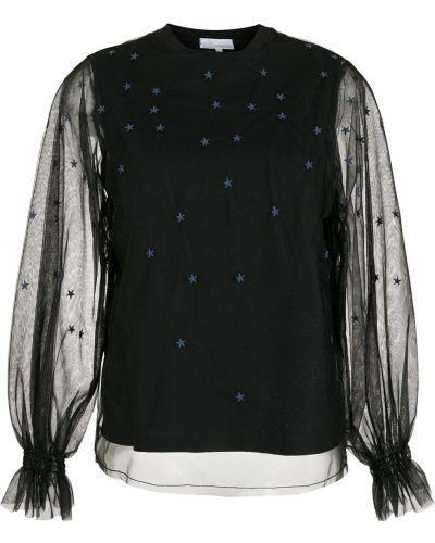 Czarna bluzka z długimi rękawami z haftem Nk