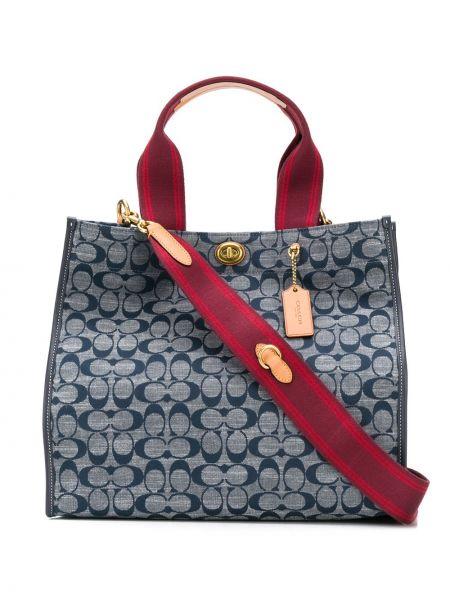 Текстильная бежевая сумка-тоут с карманами Coach