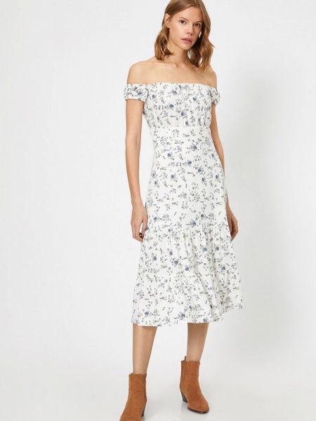 Платье с открытыми плечами весеннее Koton