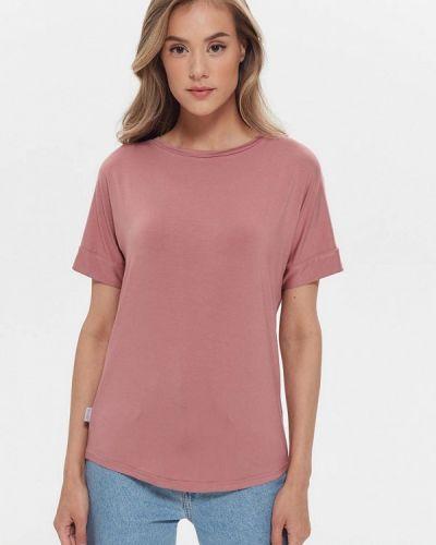Шелковая розовая с рукавами футболка Silk Me