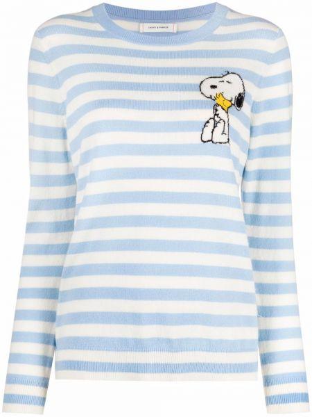 Синий шерстяной вязаный длинный свитер Chinti And Parker