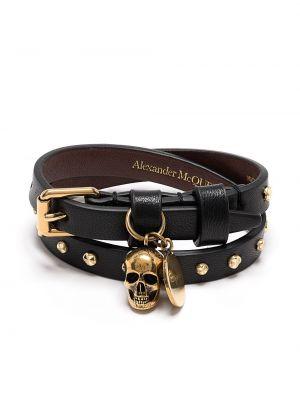 Черный браслет с подвесками с черепами Alexander Mcqueen