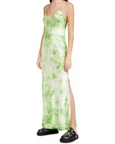 Satynowa sukienka długa z printem z dekoltem w serek Dannijo