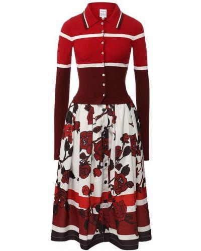 Платье миди из вискозы красный Sara Roka