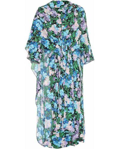 Платье мини с цветочным принтом из вискозы Balenciaga