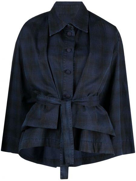 Синий классический пиджак с поясом с воротником Henrik Vibskov
