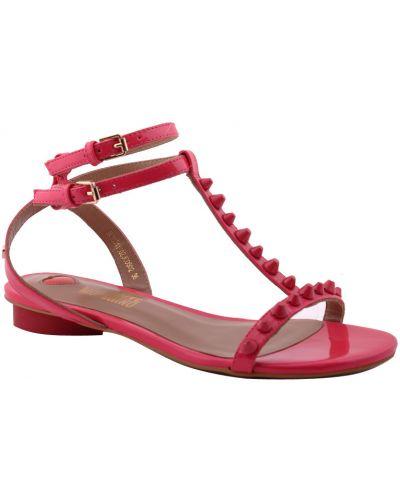 Босоножки на каблуке лаковые розовый Love Moschino