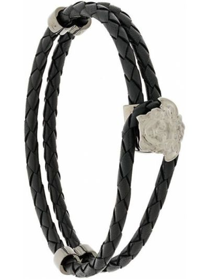 Klasyczna czarna bransoletka skórzana Versace