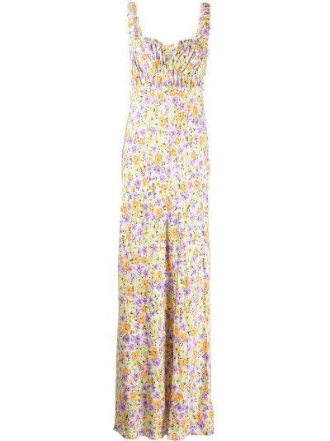 Платье макси в цветочный принт - зеленое Nicholas