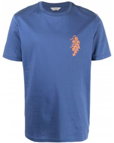 Niebieski t-shirt krótki rękaw bawełniany Gieves & Hawkes