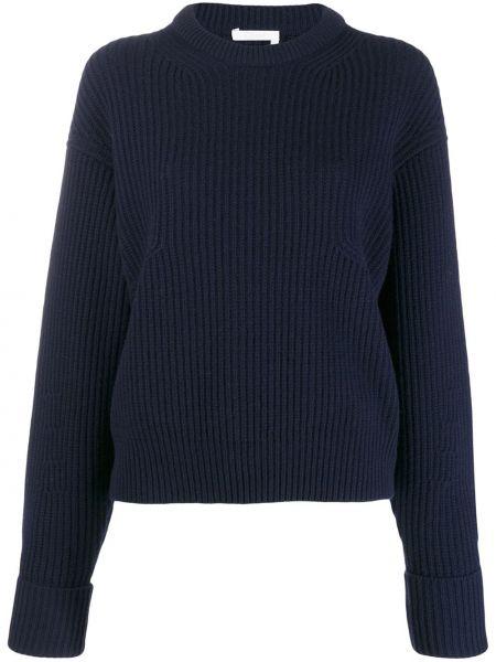 Синий свитер со спущенными плечами в рубчик Chloé