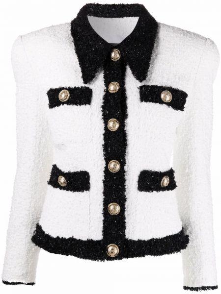 Белый однобортный пиджак твидовый на пуговицах Balmain