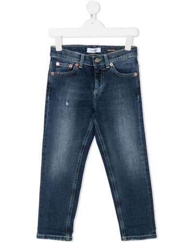 Хлопковые классические синие джинсы классические стрейч Dondup Kids