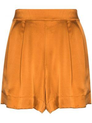 С завышенной талией шелковые шорты с карманами Asceno