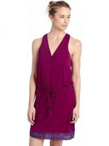 Бордовое платье с V-образным вырезом на молнии с поясом Lole