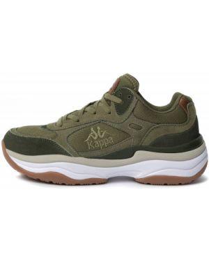 Зеленые кожаные классические кроссовки на шнуровке Kappa