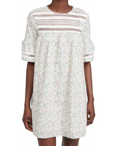 Кружевное белое платье с декольте English Factory